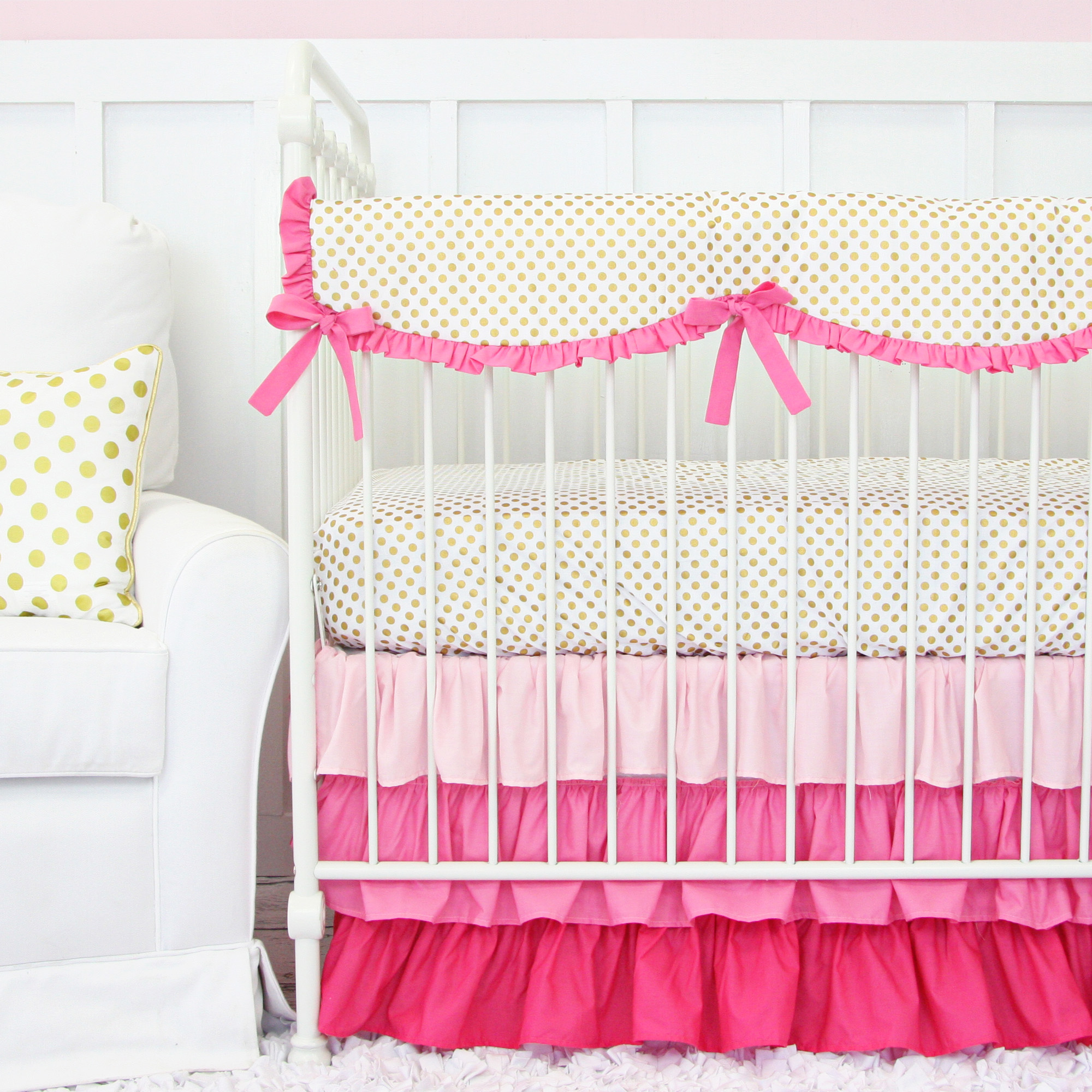 Pink and Gold Dot Ruffle crib set