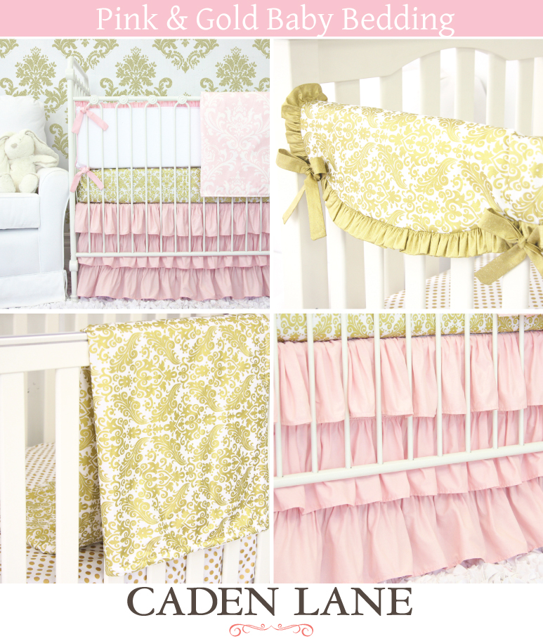 Pink and Gold Baby Bedding Caden Lane