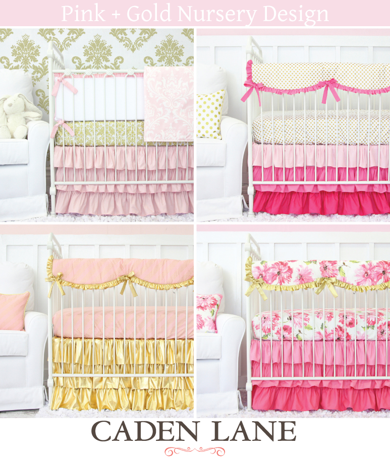 pink and gold baby bedding caden