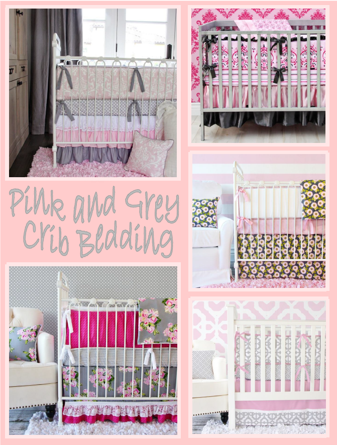 pink and gray crib bedding